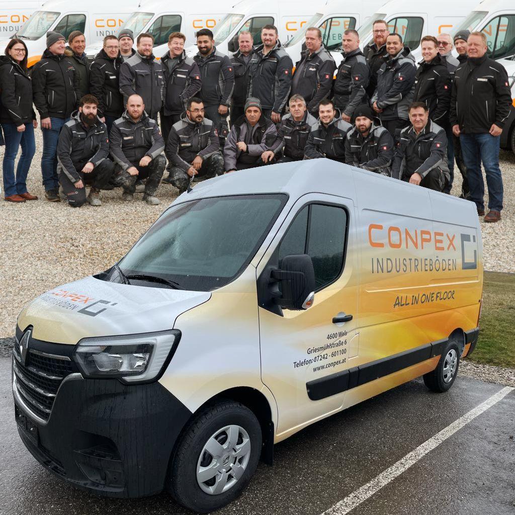 Team Conpex mit Bus
